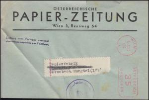 Österreichische Zensur 96: Brief mit AFS Wien 5.2.51 - 35 Groschen n. Gernsbach