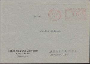 Ortsbrief aptierter AFS Heidelberg Deutsches Reich 16 Pf. Rhein-Neckar-Zeitung