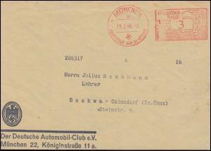 AFS Automobil-Club ADAC München 19.2.40 auf Briefvorderseite