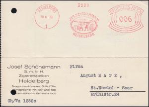 AFS J. Schönemann Zigarrenfabriken Heidelberg 20.6.33, Postkarte nach St. Wendel