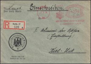 AFS Der Polizeipräsident in Berlin 7.8.34 Stapo 6, R-Brief nach Kiel-Wik 8.8.34