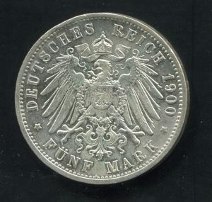 Baden - Friedrich I. großer Reichsadler, 5 Mark 1900, Silber 900, ss