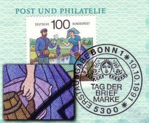 1570 Tag der Briefmarke 1991 mit PLF Schürzenfleck / Feld 5 auf BDPh-Jahresgabe