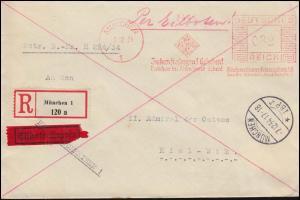 AFS Münchener Lebensversicherungsbank MÜNCHEN - 7.12.34, Eil-R-Brief mit Tages-O