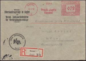 AFS Preussische Justiz Oberlandesgericht KASSEL 20.7.32, R-Bf. nach KIEL 21.7.32