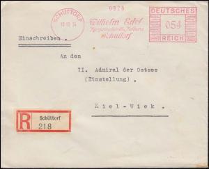 AFS Wilhelm Edel Margarinefabrik und Molkerei SCHÜTTORF 10.10.34 auf R-Brief