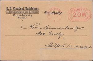 Infla AFS Braunschweig 20 Mark - 19.5.1923 auf Drucksache-Werbedoppelkarte