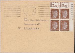 782 Freimarke als ER-Viererblock oben rechts Druckerzeichen 2 auf Brief aus Wien