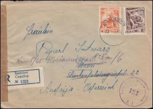Zensur Österreichische Zensurstelle 121 auf R-Brief SAMOBOR 23.1.51 nach Wien