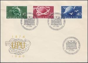 Schweiz 522-524 Weltpostverein UPU - Satz auf Blanko-Schmuck-Brief SSt 27.5.1949