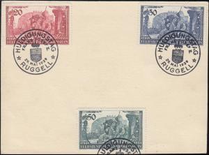 180-182 Huldigung für Fürst Franz Josef II. auf Karton ESSt RUGGELL 29.5.39