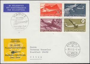 mit Hubschrauber Liechtenstein 391-394 Brief VADUZ SSt Helikopter-Post 28.5.1960