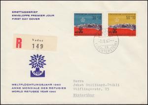 Liechtenstein 389-390 Weltflüchtlingsjahr 1960 auf Schmuck-R-FDC VADUZ 7.4.60