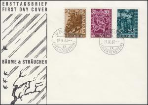 Liechtenstein 399-401 Bäume und Sträucher - Satz auf Schmuck-FDC VADUZ 16.9.60