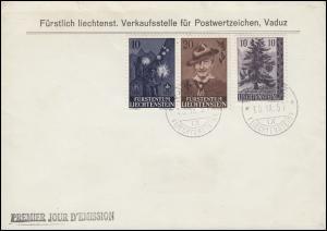 Liechtenstein 360-361 Pfadfinder-Paar mit 357 Fichte Blanko-FDC VADUZ 10.9.1957
