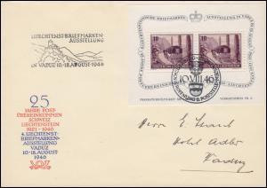 Liechtenstein Block 4 Briefmarkenausstellung Schmuck-FDC ESSt SCHELLENBERG 1946