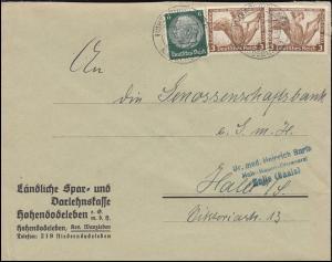 499A Nothilfe Wagner mit 516 MiF auf Brief Sparkasse HOHENDODELEBEN 16.6.34