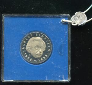 DDR Gedenkmünze 5 Mark Einstein 1979, Spiegelglanz PP in verplombter Kapsel