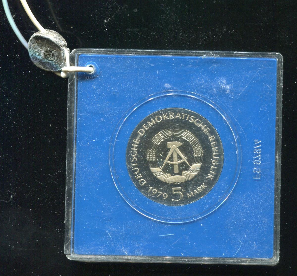 DDR Gedenkmünze 5 Mark Einstein 1979, Spiegelglanz PP in verplombter Kapsel 1