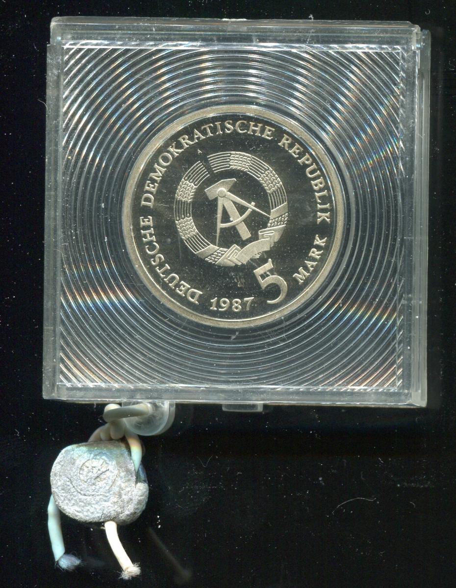DDR Gedenkmünze Rotes Rathaus, 1987, Spiegelglanz PP in verplombter Kapsel 1