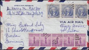 Deutsche Zensur auf USA-Brief DUB NEW YORK H - September 1941 nach Breslau