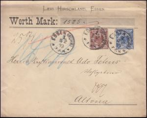 48+50 Adler 20+50 Pf. MiF auf Wert-Brief ESSEN (RUHR) 15.2.1893 nach ALTONA/ELBE