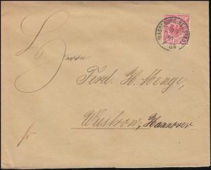 47 Adler als EF Brief MAGDEBURG-NEUSTADT 29.9.1891 nach WUSTROW / HANN. 30.9.91