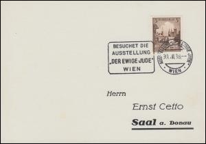 665 Breslau als EF auf Drucksache SSt WIEN Ausstellung Der ewige Jude 30.8.38