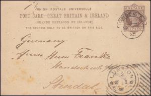 Großbritannien Postkarte P 18 Königin Viktoria aus LONDON 8.4.1889 nach Stendal