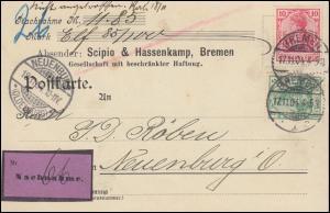 70+71 Germania auf Nachnahme-Postkarte BREMEN 17.11.1904 nach NEUENBURG 18.11.04