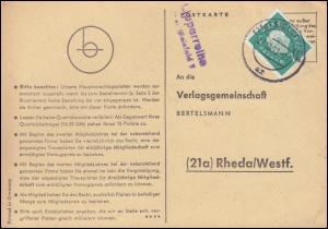 Landpost Lipperreihe über BIELEFELD 27.10.1960 auf Postkarte nach Rheda