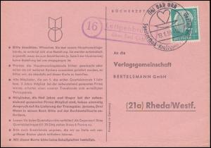 Landpost Lettgenbrunn über Bad Orb auf Postkarte SSt BAD ORB 19.1.59 nach Rheda