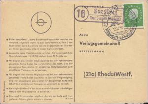 Landpost Sandberg über Gersfeld (Rhöngeb.) auf Postkarte SSt GERSFELD 18.10.1960