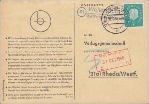 Landpost Weltersburg über WESTERBURG (WESTERWALD) 30.10.60, Postkarte nach Rheda