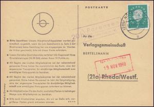 Landpost Parensen über NORTHEIM (HAN.) 18.11.1960 auf Postkarte nach Rheda