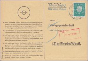Landpost Muscheid über SELTERS WESTERWALD LAND 14.10.60 auf Postkarte nach Rheda