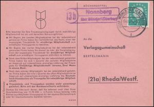 Landpost Nonnberg über MÜHLDORF (OBERBAY.) 14.10.1960 auf Postkarte nach Rheda