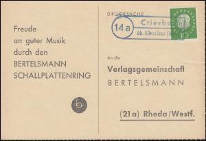 Landpost Criesbach über Künzelsau - ohne Tagesstempel auf Postkarte nach Rheda