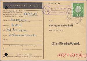 Landpost Irsingen über GUNZENHAUSEN (MITTELFR) 10.10.60 auf Postkarte nach Rheda