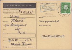 Landpost Herzogsreut über PASSAU 14.10.1960 auf Postkarte nach Rheda