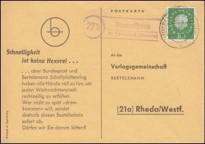 Landpost Oberroßbach über RENNEROD (WESTERW.) 2.12.60 auf Postkarte nach Rheda