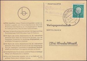 Landpost Feuerbach über MÜLLHEIM (BADEN) 31.10.1960 auf Postkarte nach Rheda