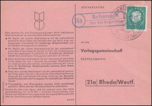 Landpost Schonach über Bad Mergentheim, Postkarte SSt BAD MERGENTHEIM 14.10.1960