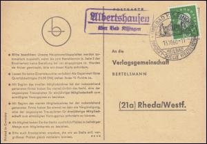 Landpost Albertshausen über Bad Kissingen, Postkarte SSt BAD KISSINGEN 13.10.60