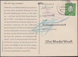 Landpost Holzkirchen über WÜRZBURG 3.12.1960 auf Postkarte nach Rheda