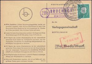 Landpost Bruchhof über Kreiensen auf Postkarte SSt KREIENSEN 31.10.60 nach Rheda