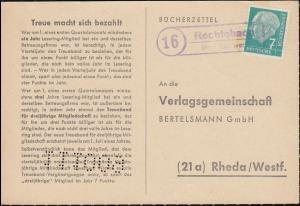 Landpost Rechtebach über Eschwege - ohne Tagesstempel auf Postkarte nach Rheda