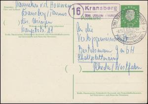 Landpost Kransberg über Usingen auf Postkarte SSt USINGEN (TAUNUS) 8.10.1960