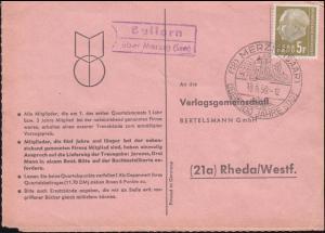 Landpost Ballern über Merzig (Saar) auf Postkarte SSt MERZIG 19.5.59 nach Rheda