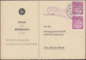 Landpost Ahnebergen über VERDEN (ALLER) 19.8.1960 auf Postkarte nach Rheda